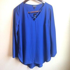 Express royal blue lightweight long sleeve blouse